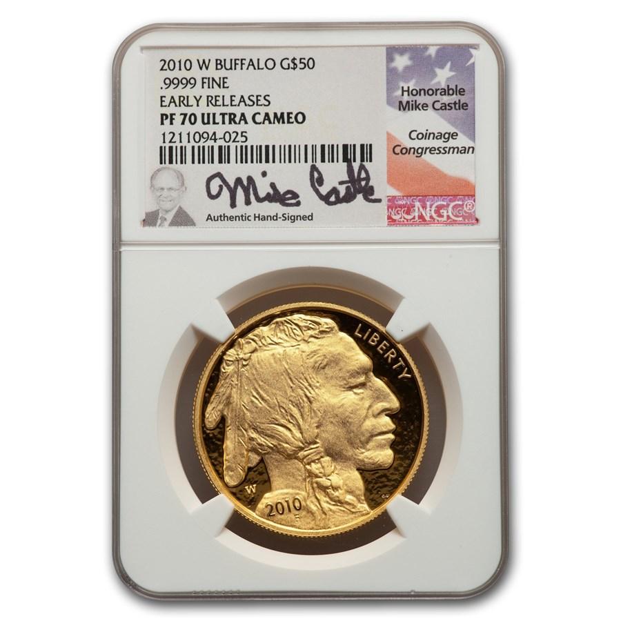 2010-W 1 oz Proof Gold Buffalo PF-70 NGC (ER, Mike Castle)