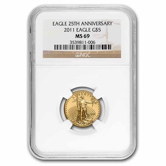 2011 1/10 oz American Gold Eagle MS-69 NGC
