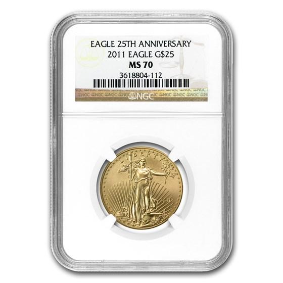 2011 1/2 oz Gold American Eagle MS-70 NGC