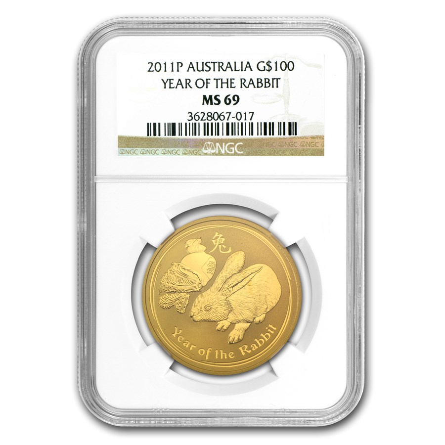 2011 1 oz Gold Lunar Year of the Rabbit MS-69 NGC (Series 2)