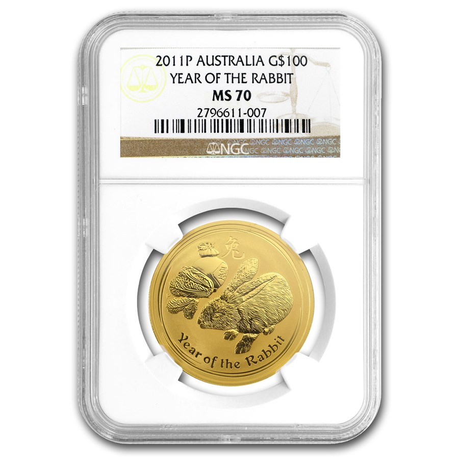 2011 1 oz Gold Lunar Year of the Rabbit MS-70 NGC (Series II)