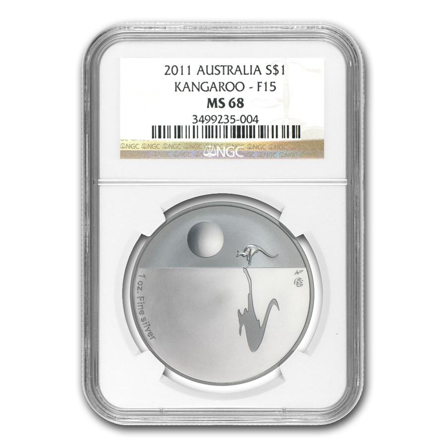 2011 1 oz Proof Silver Kangaroo at Sunset F15 Privy MS-68 NGC