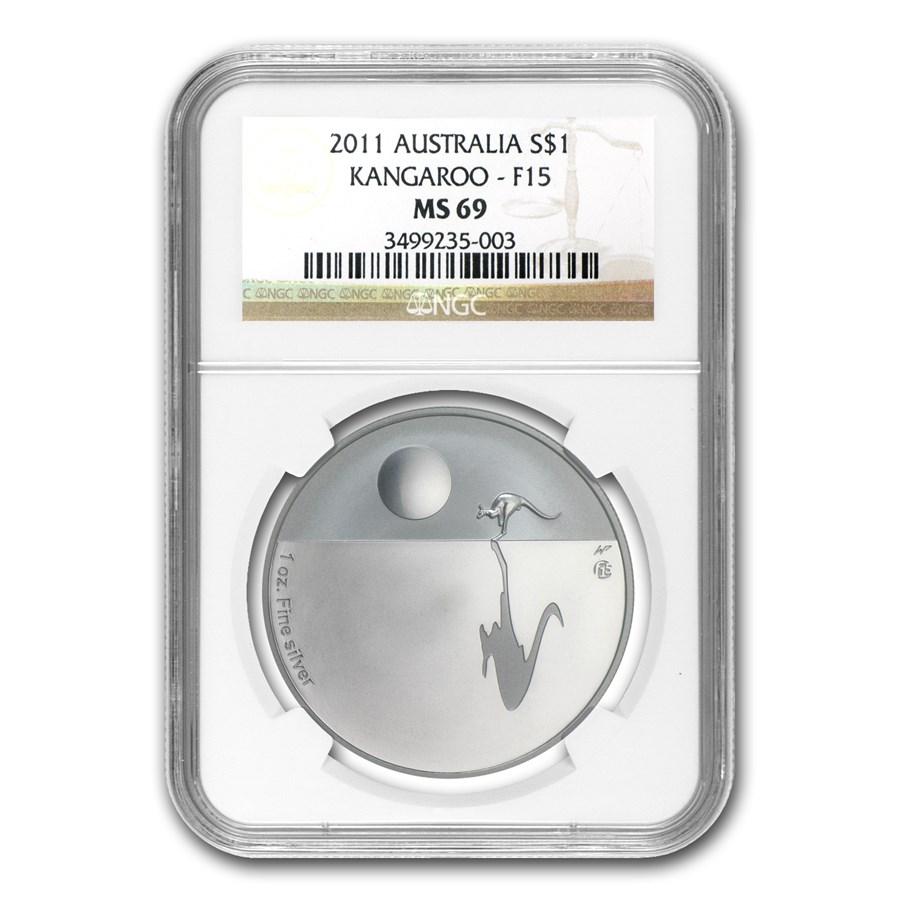 2011 1 oz Proof Silver Kangaroo at Sunset F15 Privy MS-69 NGC