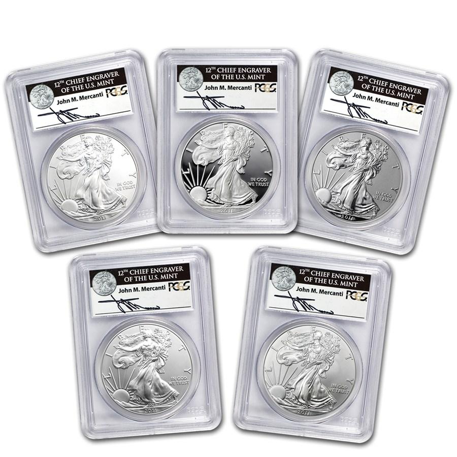 2011 5-Coin Silver Eagle Set MS/PR-70 PCGS (FS, Mercanti, 25th)