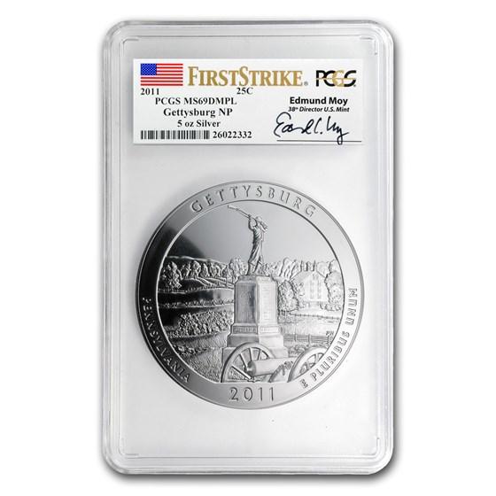 2011 5 oz Silver ATB Gettysburg MS-69 DMPL PCGS (FS, Edmund Moy)
