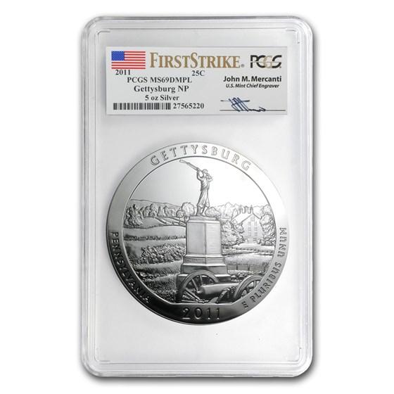 2011 5 oz Silver ATB Gettysburg MS-69 DMPL PCGS (FS, Mercanti)