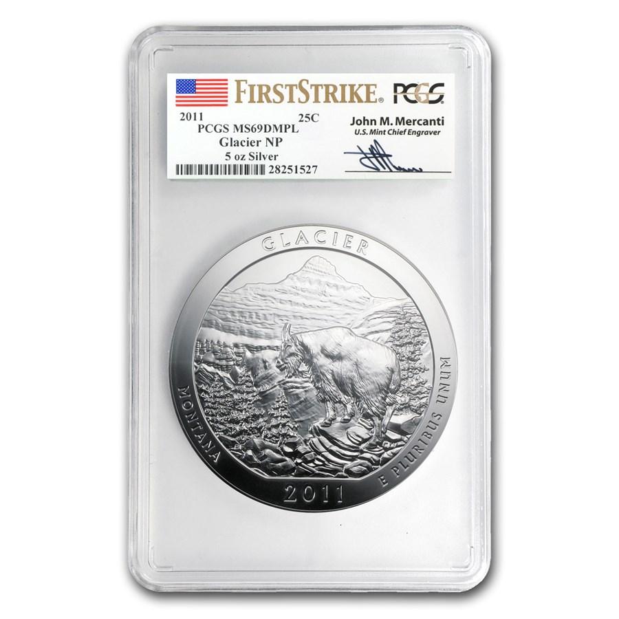 2011 5 oz Silver ATB Glacier MS-69 DMPL (FS, John Mercanti)