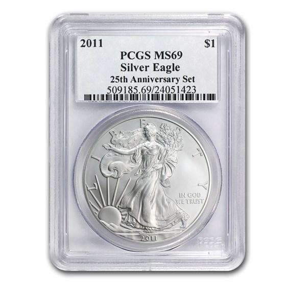 2011 American Silver Eagle MS-69 PCGS (25th Anniv)