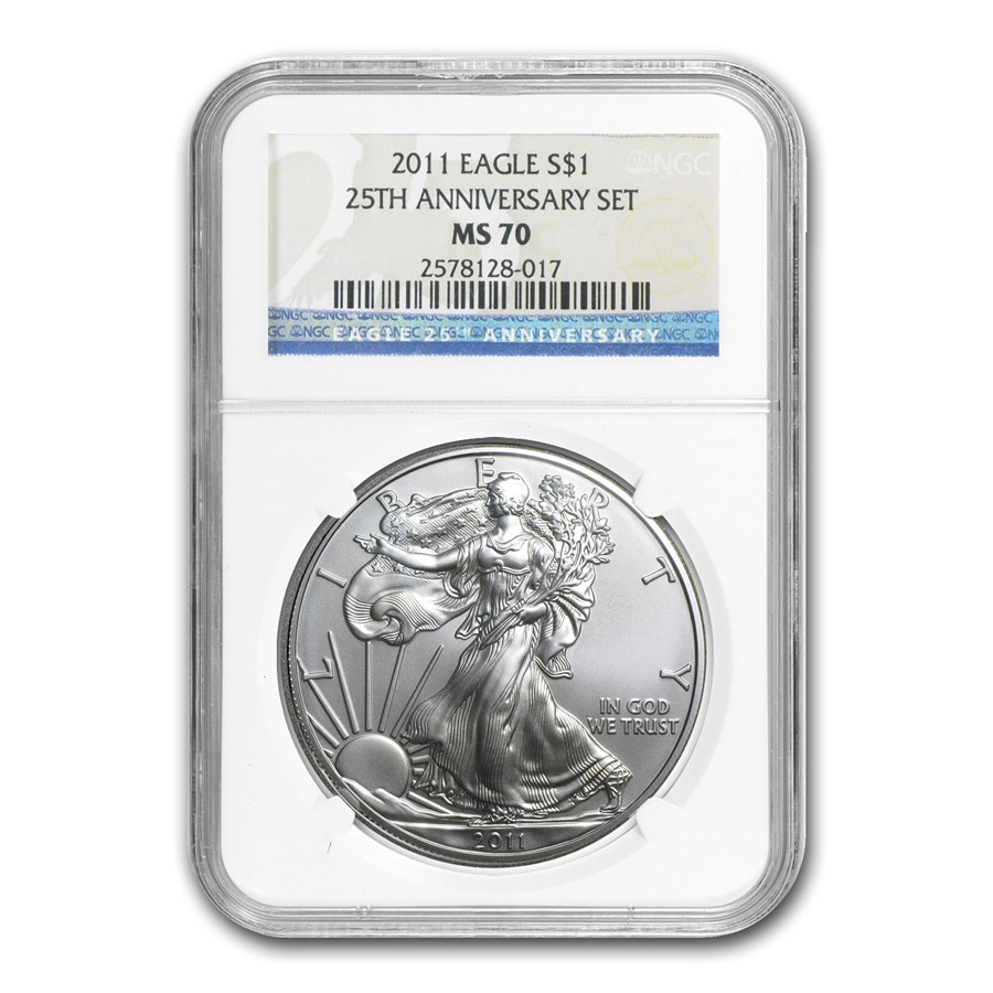 2011 American Silver Eagle MS-70 NGC (25th Anniv)