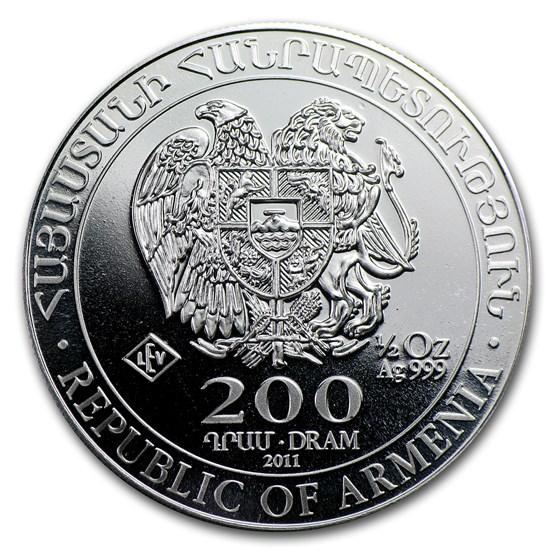 2011 Armenia 1/2 oz Silver 200 Drams Noah's Ark