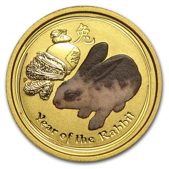 2011 Australia 1/10 oz Gold Lunar Rabbit BU (SII, Colorized)