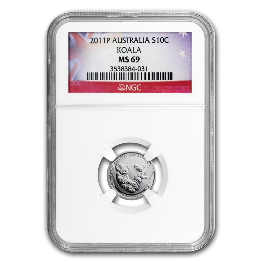 2011 Australia 1/10 oz Silver Koala MS-69 NGC