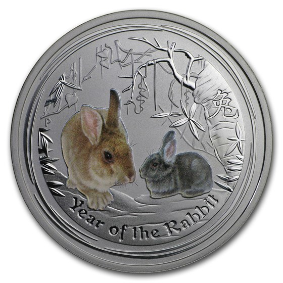 2011 Australia 1/2 oz Silver Year of the Rabbit BU (Colorized)