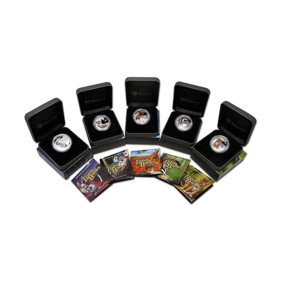 2011 Australia 5-coin 1/2 oz Silver Bush Babies Proof Set