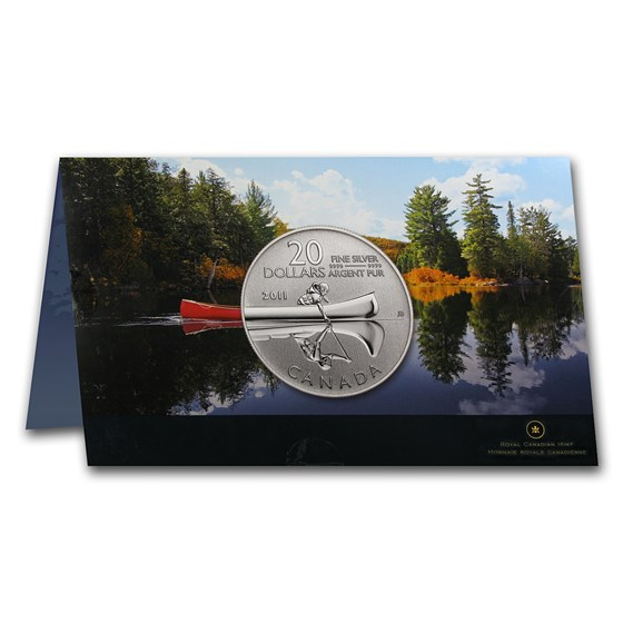 2011 Canada 1/4 oz Silver $20 Canoe (w/COA Card)