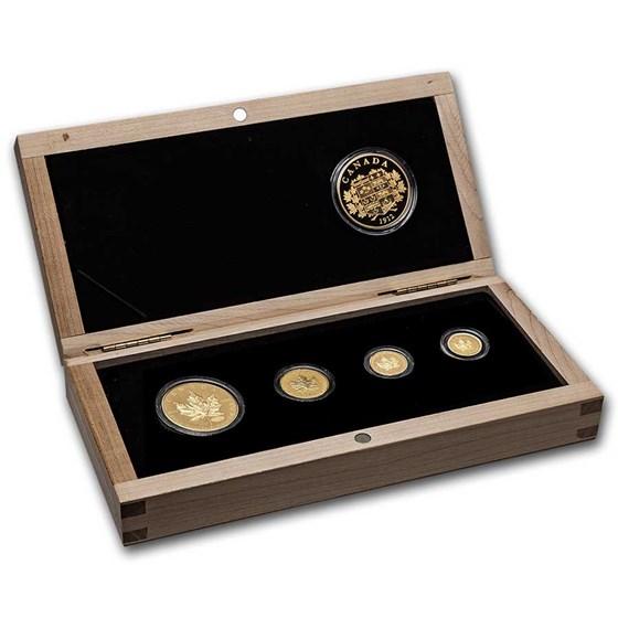 2011 Canada Gold Maple Leaf 4-Coin + Silver Medallion Set