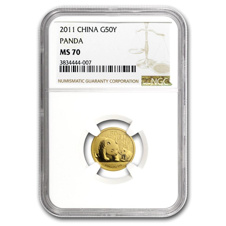 2011 China 1/10 oz Gold Panda MS-70 NGC