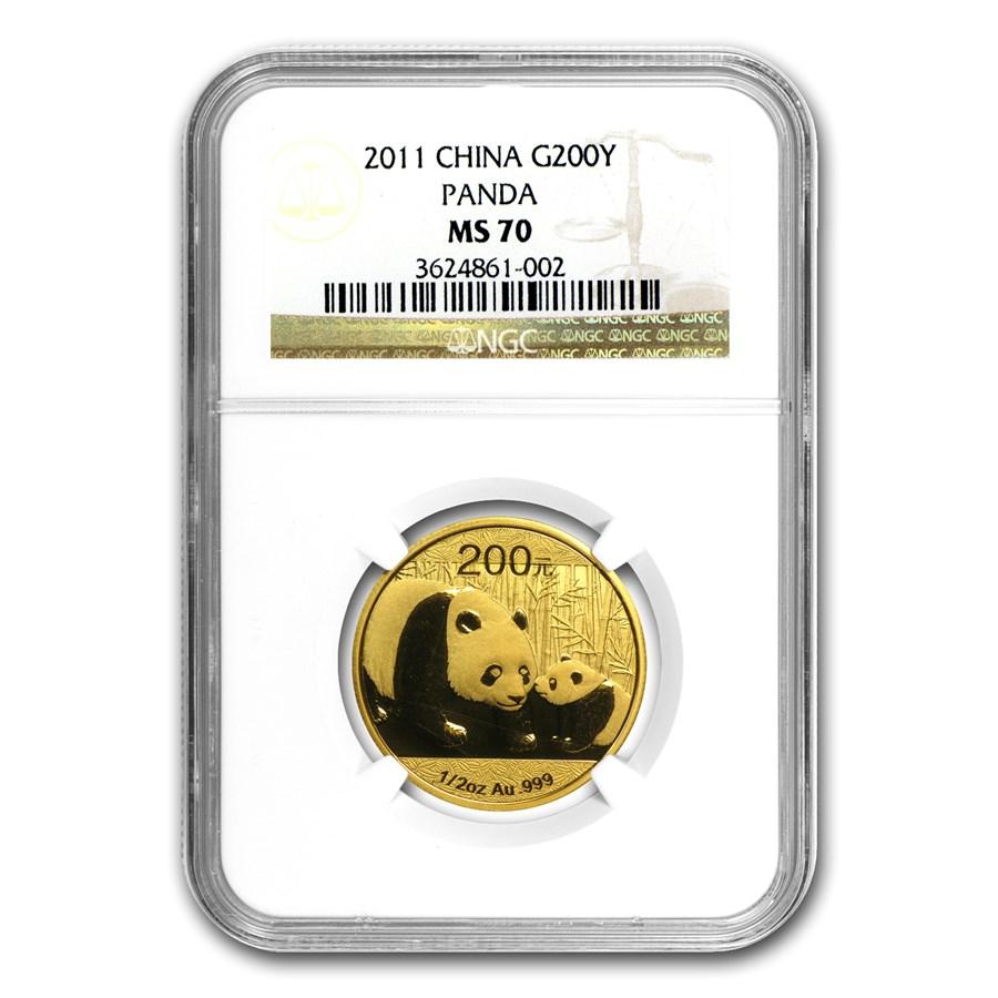 2011 China 1/2 oz Gold Panda MS-70 NGC