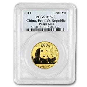 2011 China 1/2 oz Gold Panda MS-70 PCGS