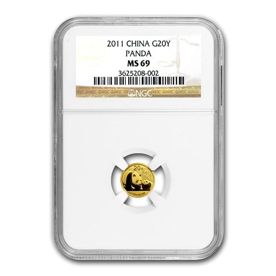 2011 China 1/20 oz Gold Panda MS-69 NGC