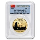 2011 China 1 oz Gold Panda Gem BU PCGS (FirstStrike®)
