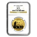 2011 China 1 oz Gold Panda MS-70 NGC