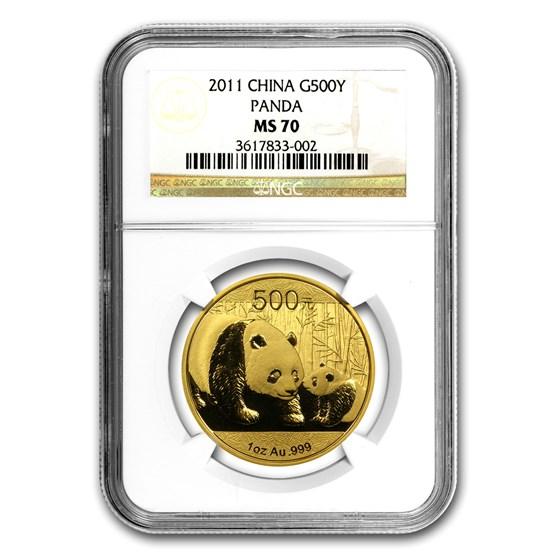 2011 China 1 oz Gold Panda MS-70 NGC