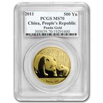 2011 China 1 oz Gold Panda MS-70 PCGS
