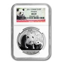 2011 China 1 oz Silver Panda MS-69 NGC