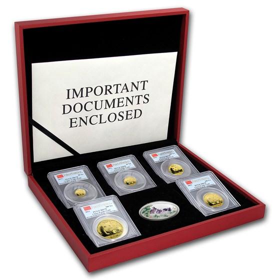 2011 China 5-Coin Gold Panda Prestige Set MS-70 PCGS (FS)