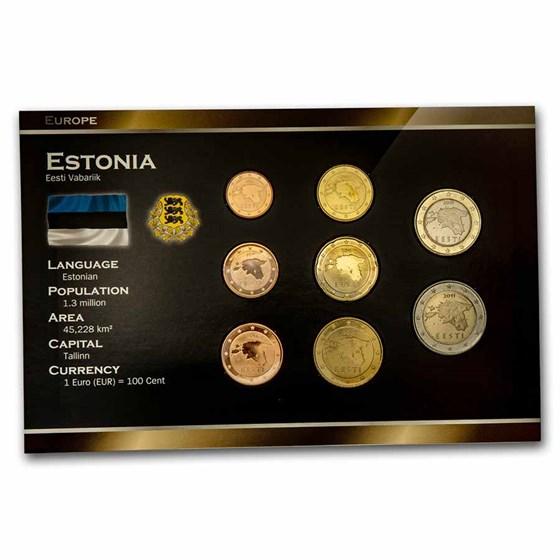 2011 Estonia 1 Cent-2 Euro 8-Coin Euro Set BU