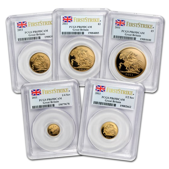 2011 Great Britain 5-Coin Gold Sovereign Set PR-69 PCGS