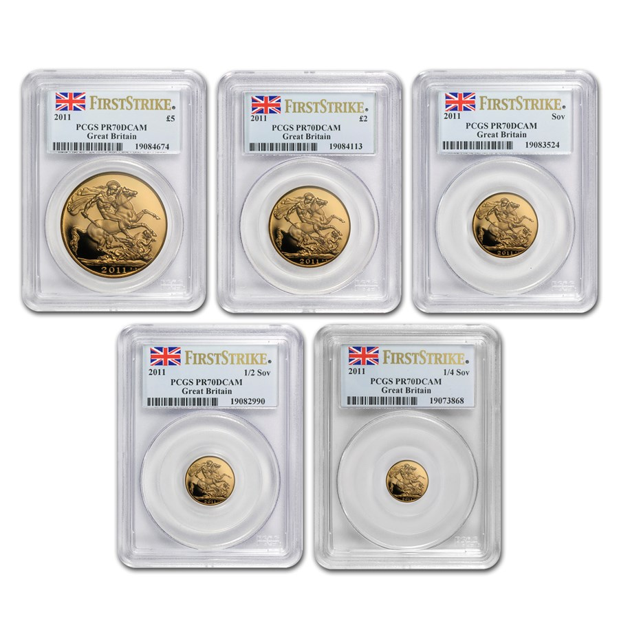2011 Great Britain 5-Coin Gold Sovereign Set PR-70 PCGS