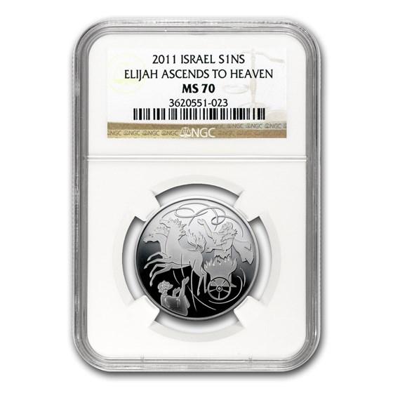 2011 Israel Silver 1 NIS Elijah in the Whirlwind MS-70 NGC