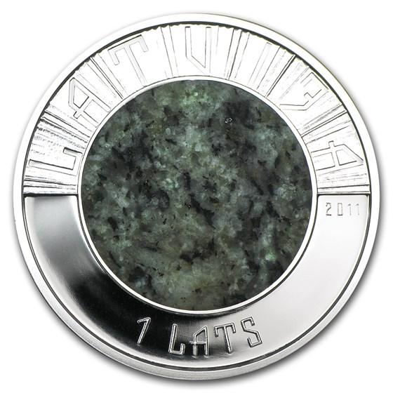 2011 Latvia Silver & Granite 1 Lats Proof