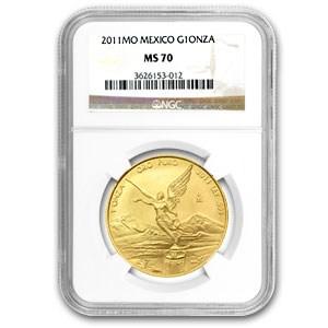 2011 Mexico 1 oz Gold Libertad MS-70 NGC