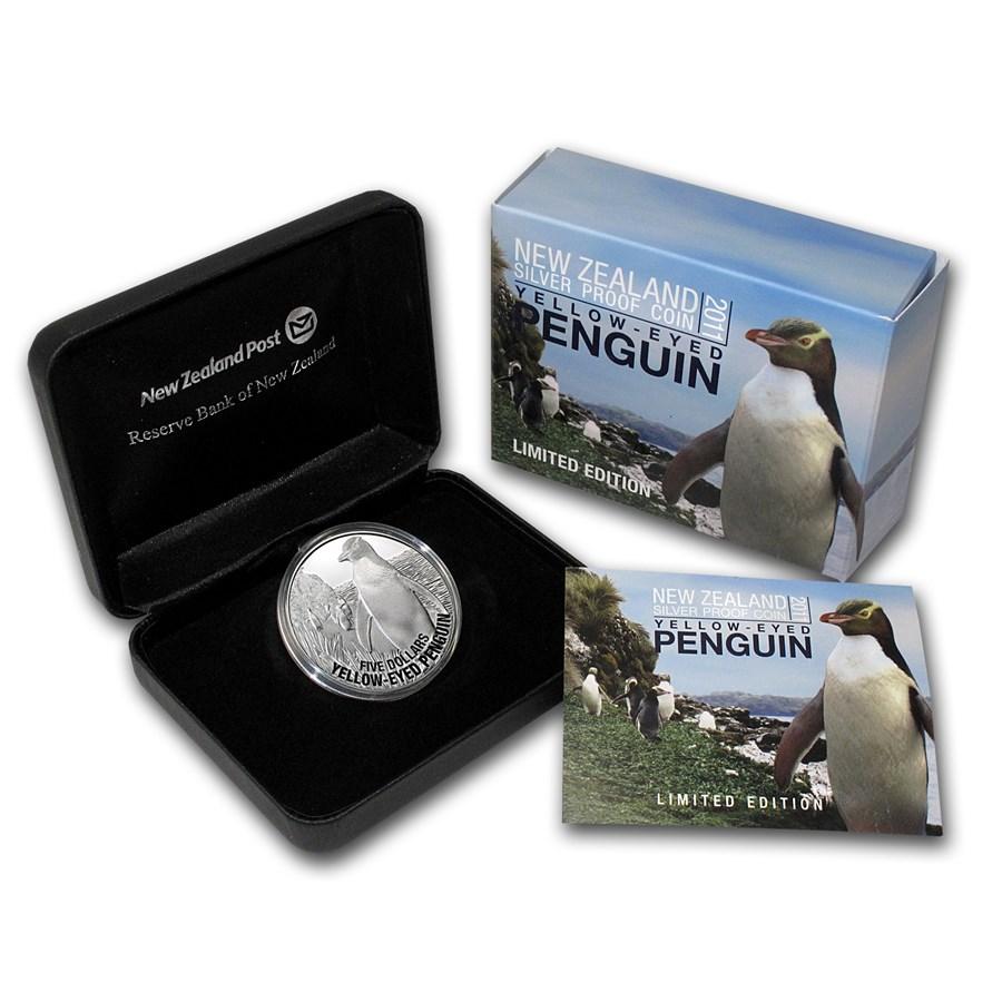 2011 New Zealand 1 oz Silver $5 Yellow Eyed Penguin (Proof)