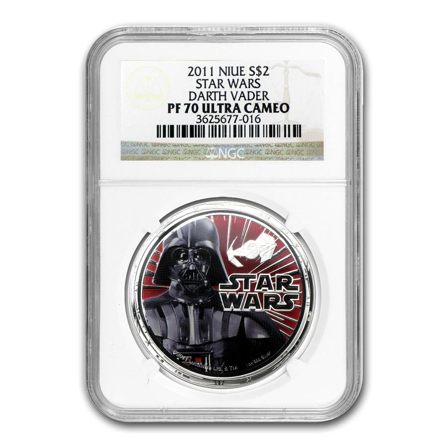 2011 Niue 1 oz Silver $2 Star Wars Darth Vader PF-70 NGC