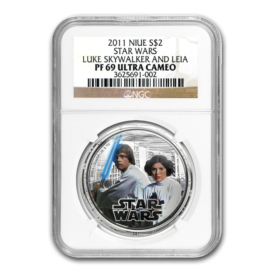 2011 Niue 1 oz Silver $2 Star Wars Luke Skywalker/Leia PF-69 NGC