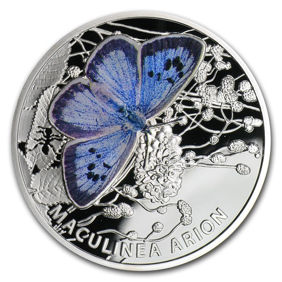 2011 Niue Proof Silver $1 Butterflies Large Blue