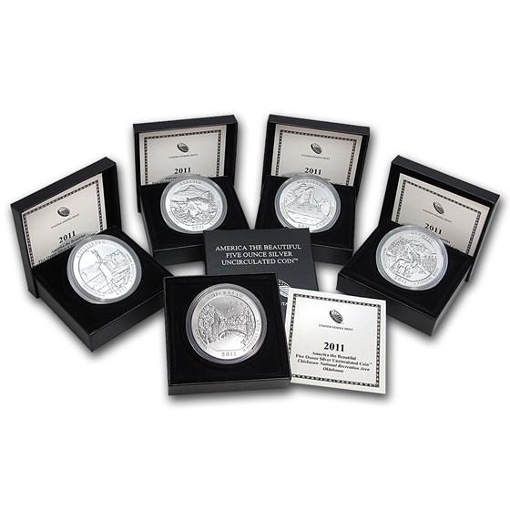 2011-P 5-Coin 5 oz Silver Burnished ATB Set (w/Box & COA)