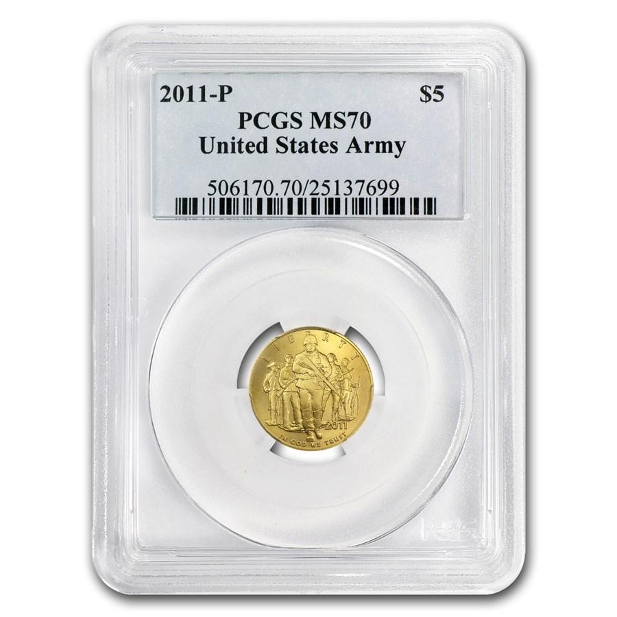 2011-P Gold $5 Commem Army MS-70 PCGS