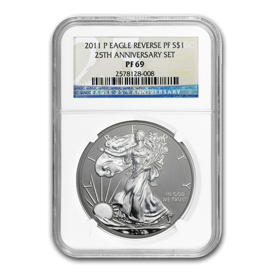 2011-P Reverse Proof Silver Eagle PF-69 NGC (25th Anniv)