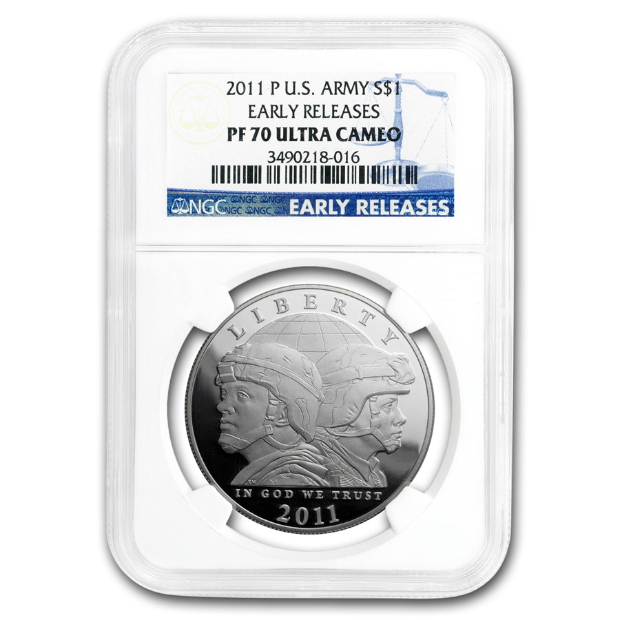 2011-P United States Army $1 Silver Commem PF-70 NGC (ER)