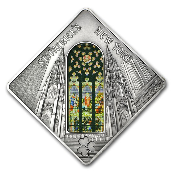 2011 Palau Proof Silver $10 Holy Windows St Patrick's Cathedral