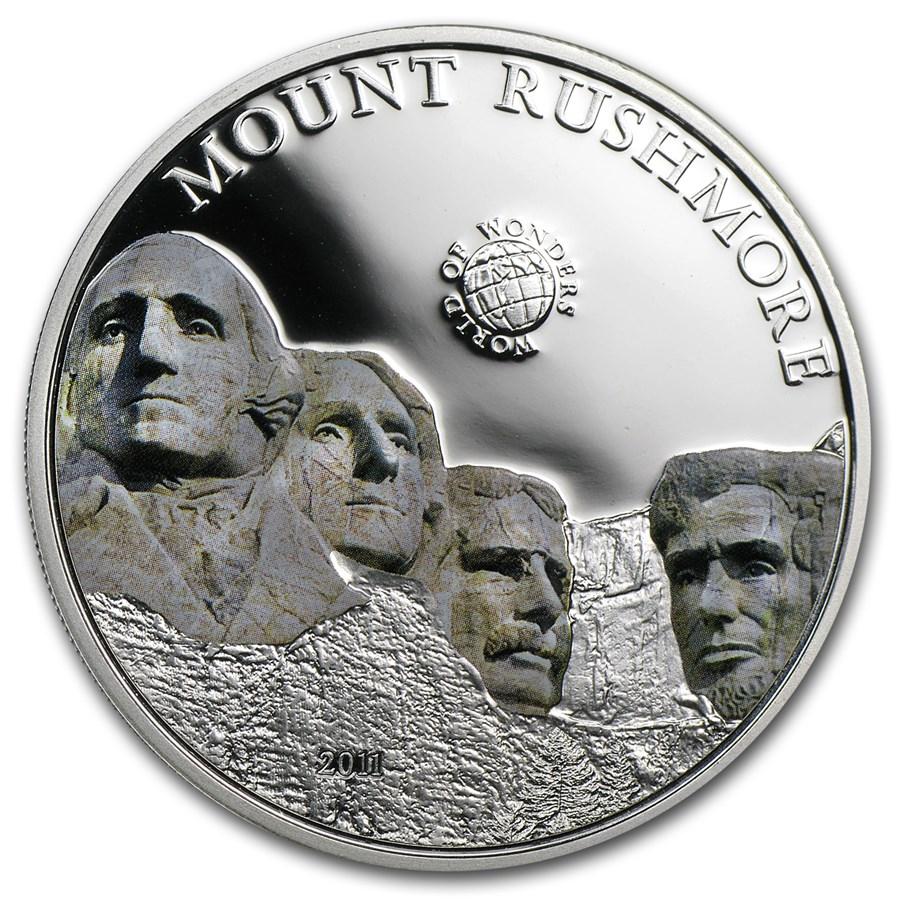 2011 Palau Proof Silver $5 World of Wonders Mount Rushmore