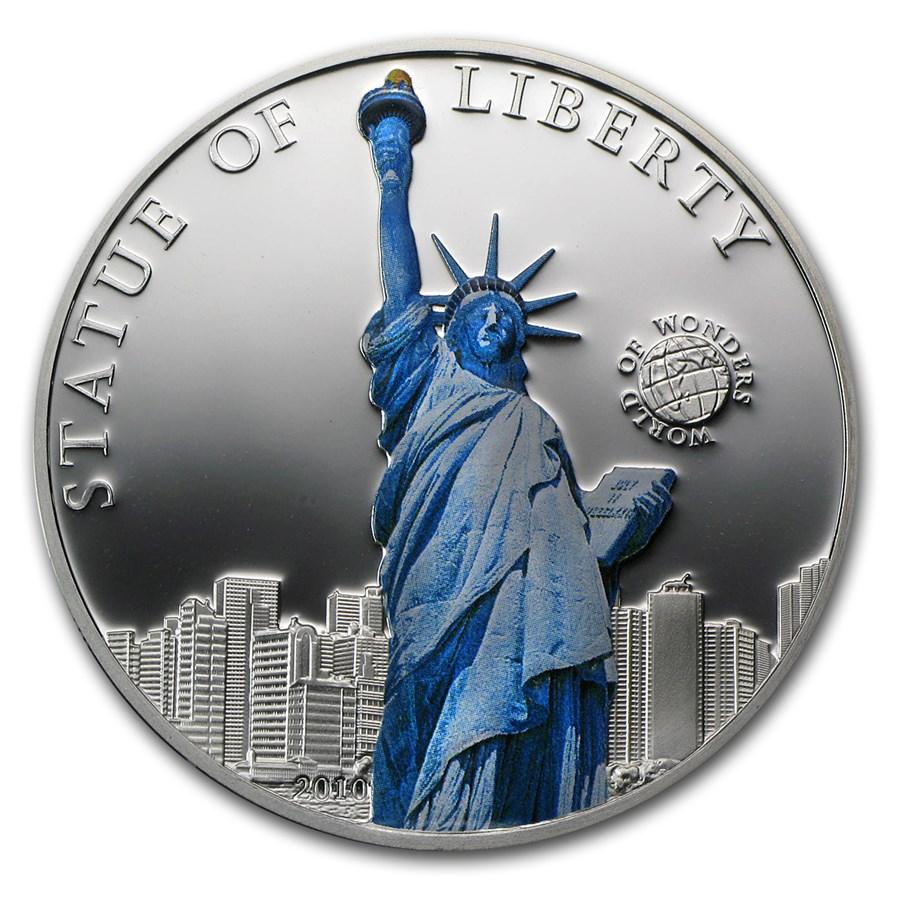 2011 Palau Proof Silver $5 World of Wonders Statue of Liberty
