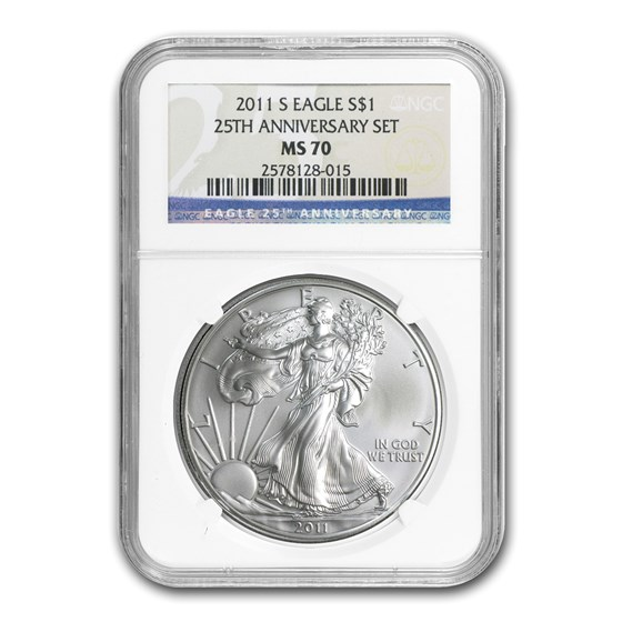 2011-S American Silver Eagle MS-70 NGC (25th Anniv)