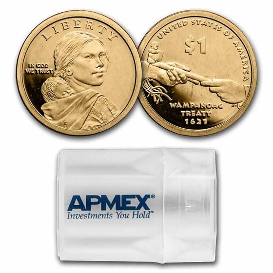 2011-S Native Amer $1 - Wampanoag Treaty 20-Coin Roll Gem Proof