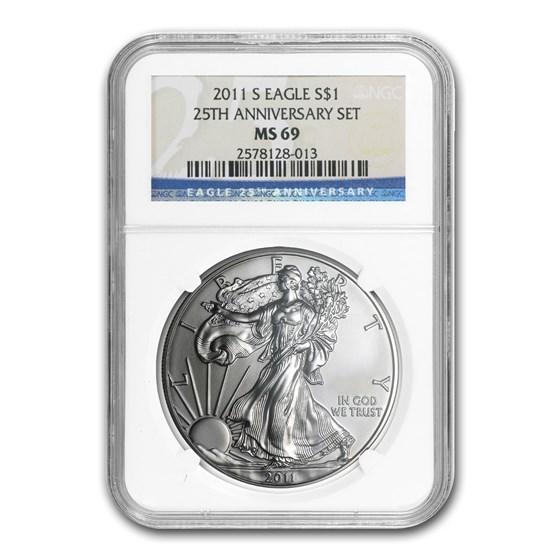 2011-S Silver American Eagle MS-69 NGC (25th Anniv)